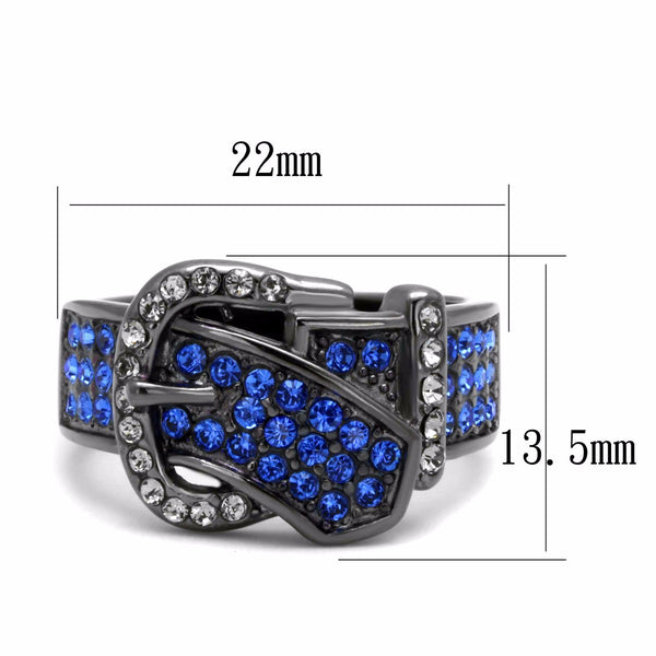 Royal Blue Multi Color Crystal IP Light Black Stainless Steel Belt Buckle Ring - LA NY Jewelry