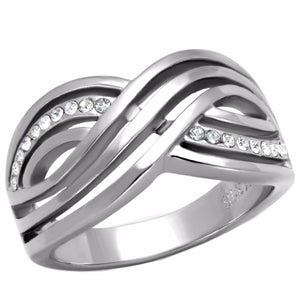 Top Grade Crystal Three Waves Line X Shape Stainless Steel Band - LA NY Jewelry