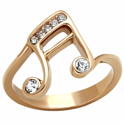 Top Grade Crystal on Music Note Symbol Rose Gold IP Stainless Steel Ring - LA NY Jewelry
