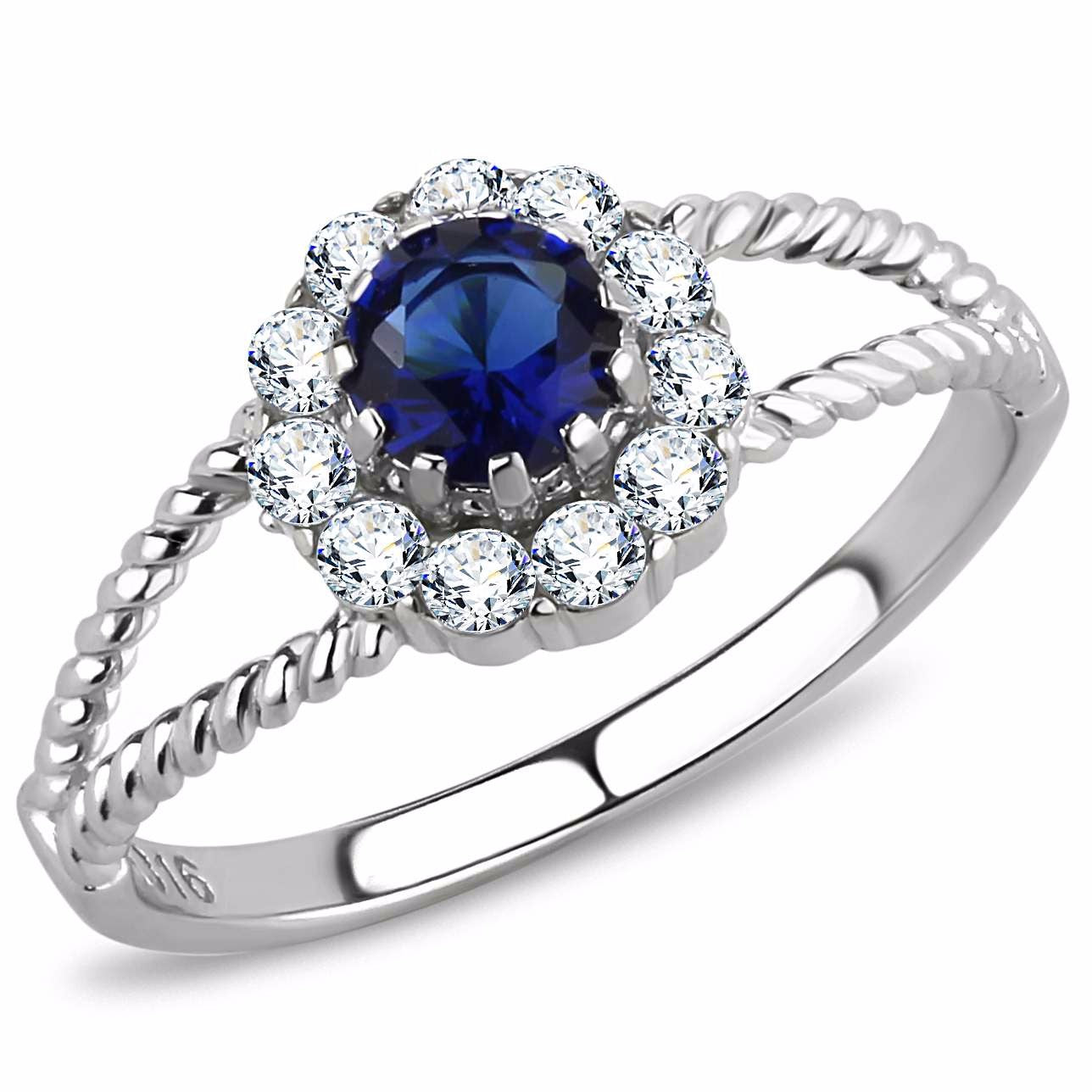 Women's 5x5mm Round Cut Sapphire CZ Center Stainless Steel Cocktail Ring - LA NY Jewelry