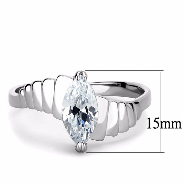 10x5mm Marquise Cut CZ Solitaire Stainless Steel Bridal Ring - LA NY Jewelry