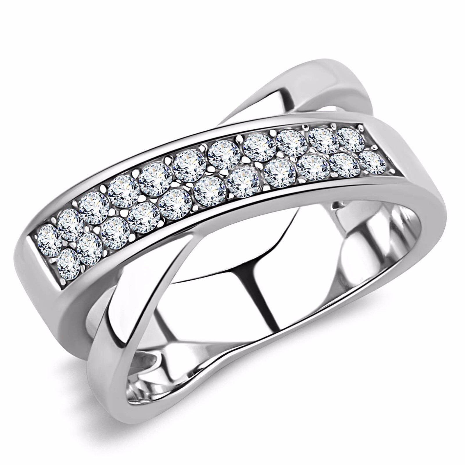 Top Quality CZ Two Rows Set in X Shape Stainless Steel Eternity Band - LA NY Jewelry