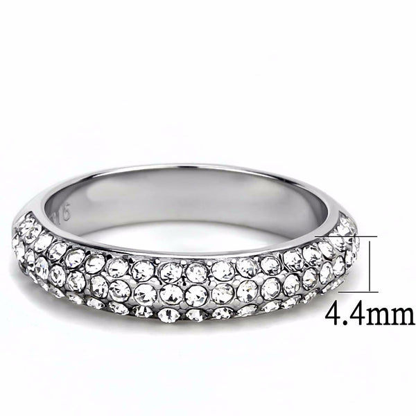 Three Rows Top Grade Clear Crystal Set in 316 Stainless Steel Band - LA NY Jewelry