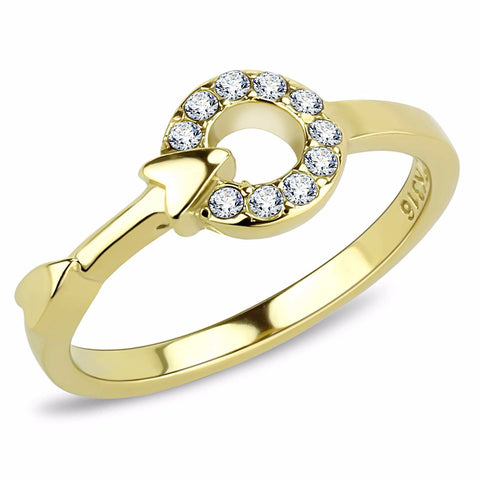 Top Grade Crystal on Circle Link Arrow Gold IP Stainless Steel Band - LA NY Jewelry