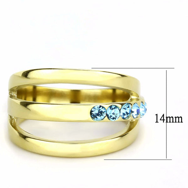 3x3mm Round Cut Sea Blue Topaz CZ Gold IP Stainless Steel Band - LA NY Jewelry