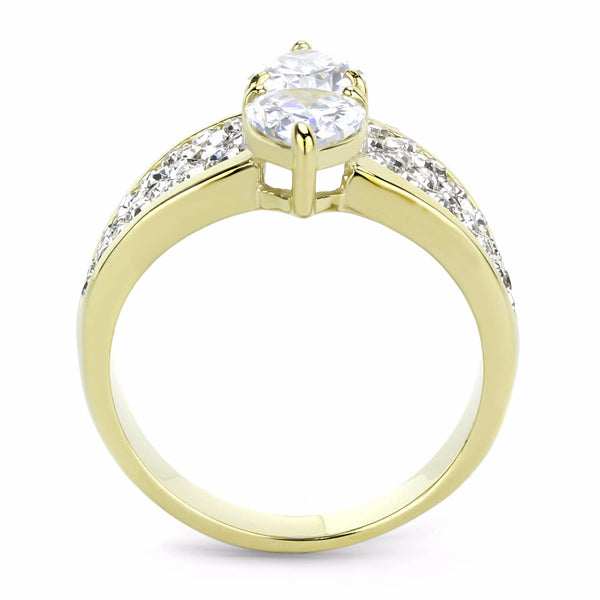 Women's Two 8x6mm Pear Cut CZs Center Gold IP Stainless Steel Wedding Ring - LA NY Jewelry