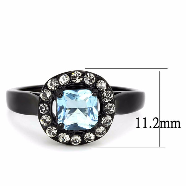 Women's 6x6mm Princess Cut Topaz CZ Center Black IP Stainless Steel Cocktail Ring - LA NY Jewelry
