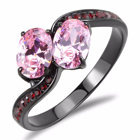 Two 0f 7x5mm Oval Cut Pink CZs Center Black IP Stainless Steel Cocktail Ring - LA NY Jewelry