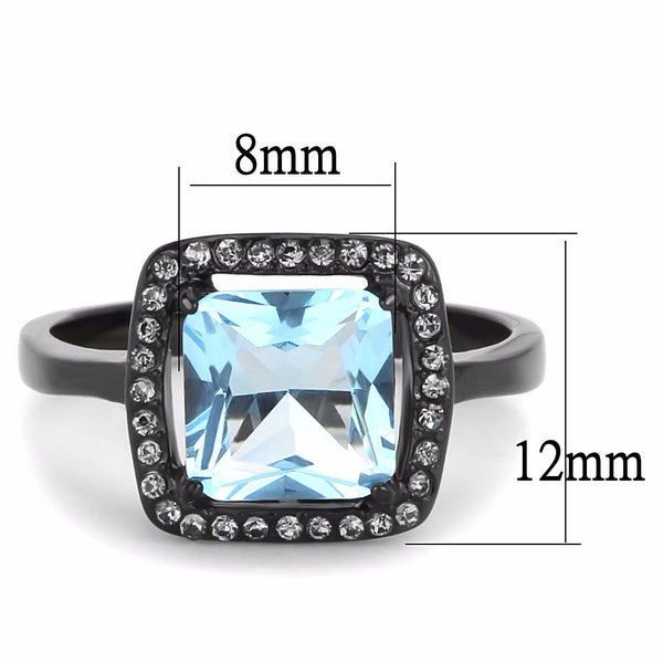 Big 8x8mm Princess Cut Sea Blue Topaz CZ Center Black IP Stainless Steel Ring - LA NY Jewelry