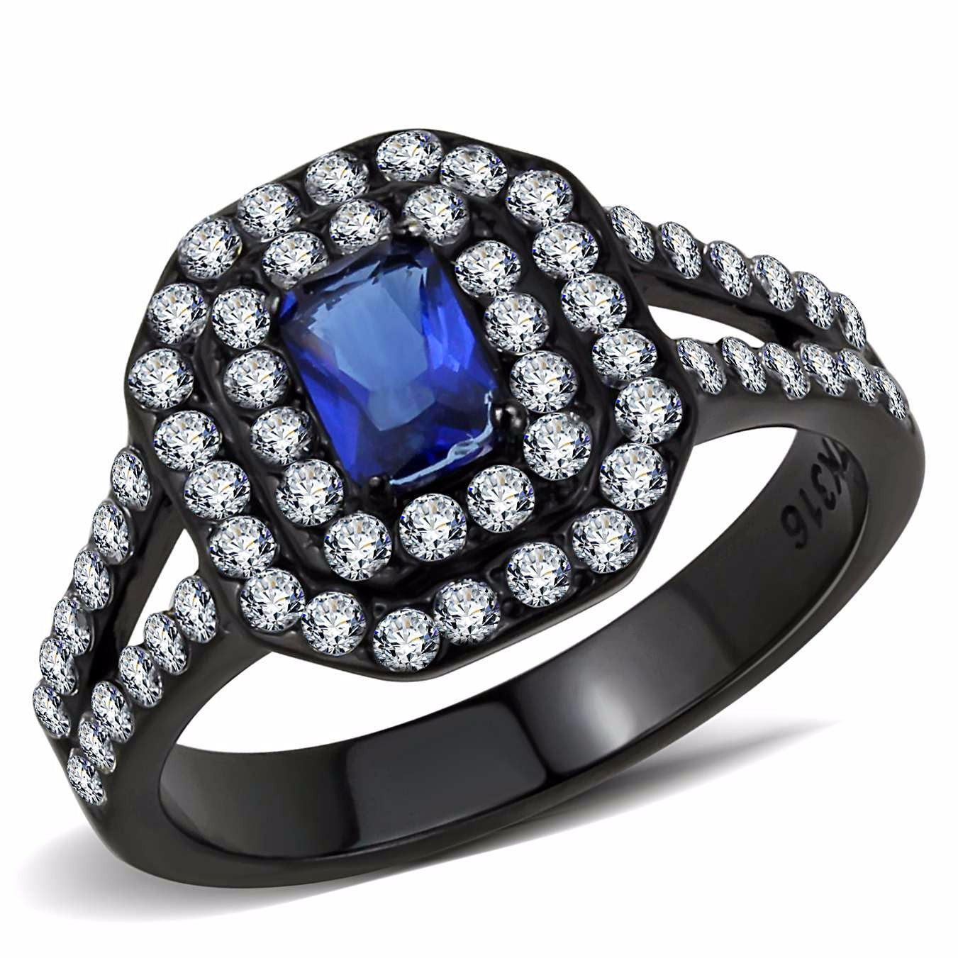 6x4mm Emerald Cut Deep Blue Sapphire CZ Black IP Stainless Steel Engagement Ring - LA NY Jewelry