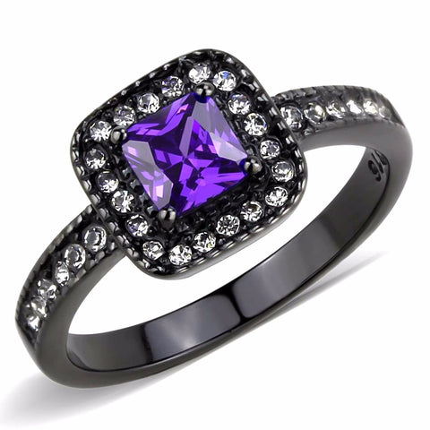 5x5mm Princess Cut Violet Amethyst CZ Black IP Stainless Steel Cocktail Ring - LA NY Jewelry
