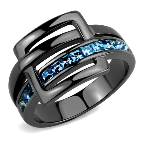 3x3mm Princess Cut Sea Blue Topaz CZ Light Black IP Stainless Steel Band - LA NY Jewelry