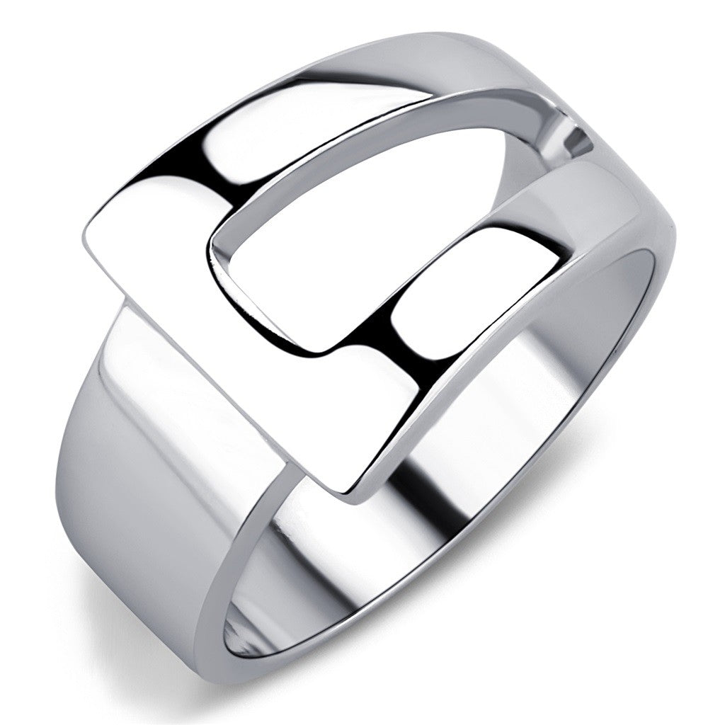 Designer Style High Polished Stainless Steel Fashion Womens Wide Band Ring - LA NY Jewelry