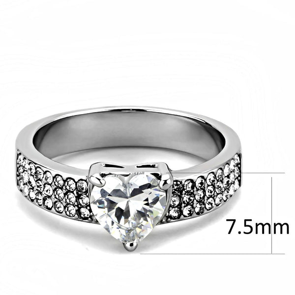 Womens 1 Carat Heart Cut CZ Stainless Steel Non Tarnish Wedding Anniversary Ring - LA NY Jewelry