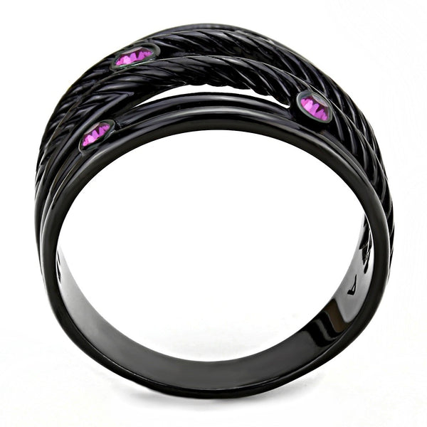 Top Grade Fuchsia Crystal Designer Black IP Stainless Steel Womens Wide Band - LA NY Jewelry