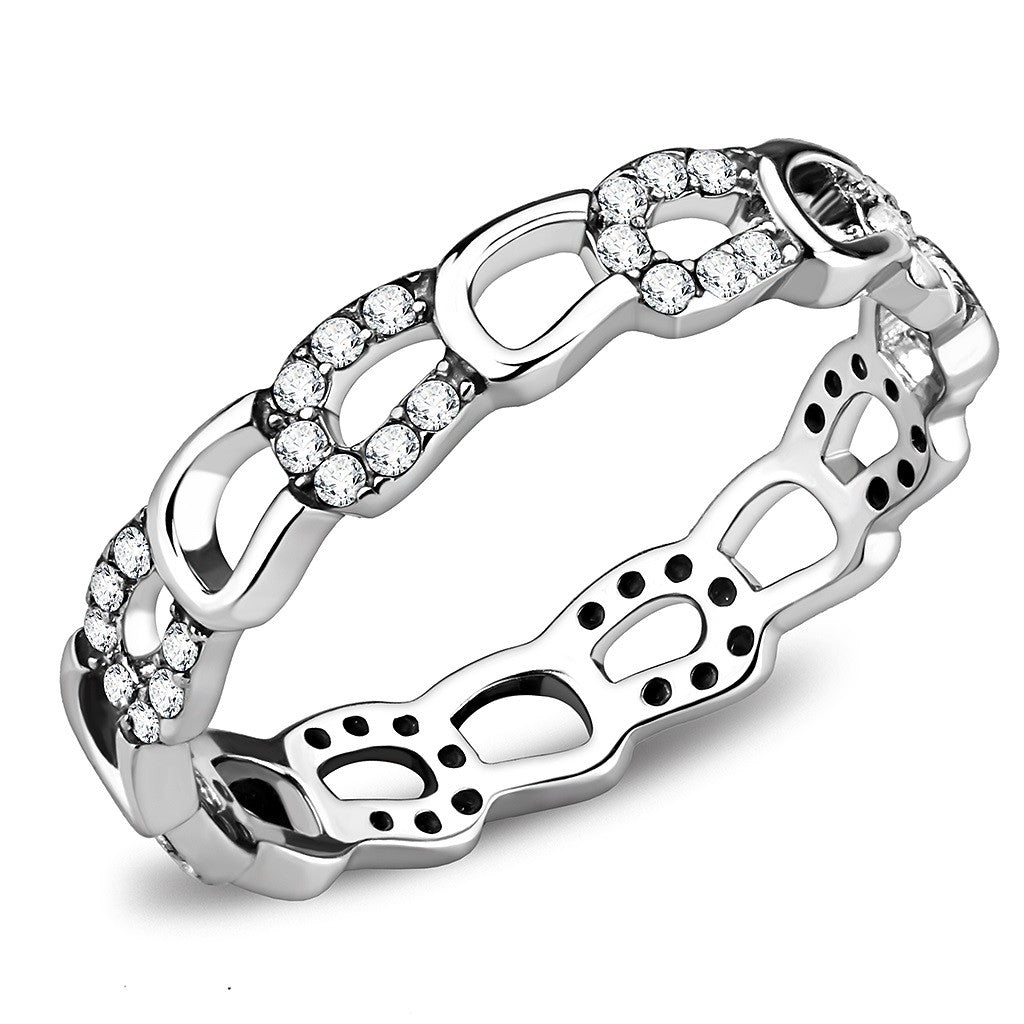 Top Grade Clear Crystal Designer 316 Stainless Steel Womens Forever Band - LA NY Jewelry
