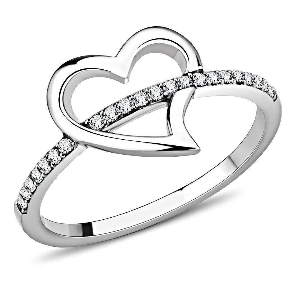 AAA Grade Clear CZ Heart Shape Stainless Steel Womens Infinity Pave Thin Band