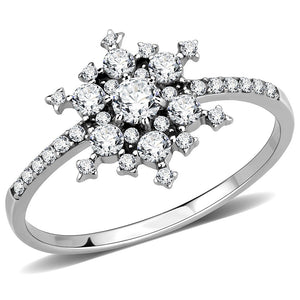 AAA Grade Clear CZ on Snowflake Shape Stainless Steel Womens Eternity Pave Thin Band