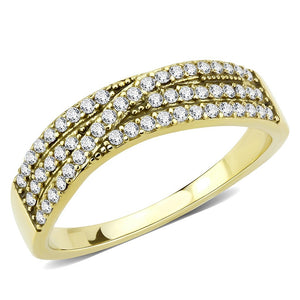 AAA Grade Clear CZ on Three Row Gold IP Stainless Steel Womens Eternity Pave Band