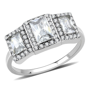 Luxury Three Stone Type AAA Clear CZ Stainless Steel Womens Wedding Promise Ring