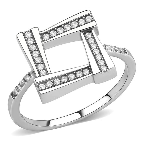AAA Grade Clear CZ on Square Shape Stainless Steel Womens Eternity Pave Thin Band