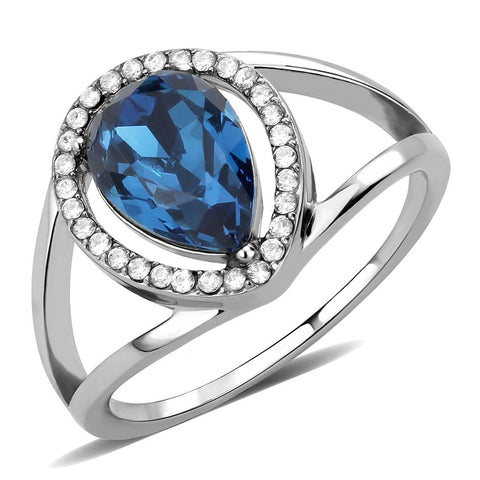 Montana Blue Pear Cut CZ on Pear Shape Stainless Steel Womens Wedding Thin Band