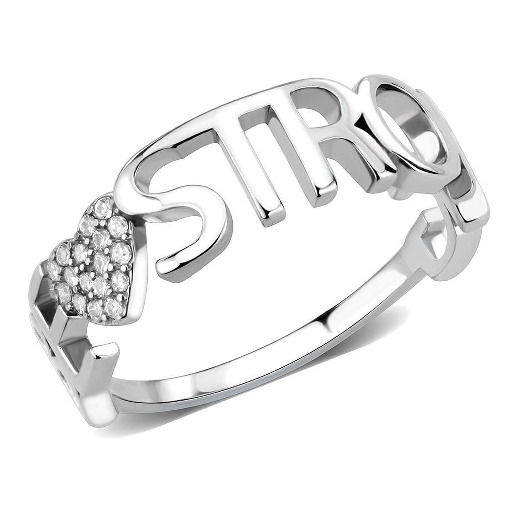 AAA Grade CZ on Heart Shape with Be Strong Lettering Stainless Steel Band