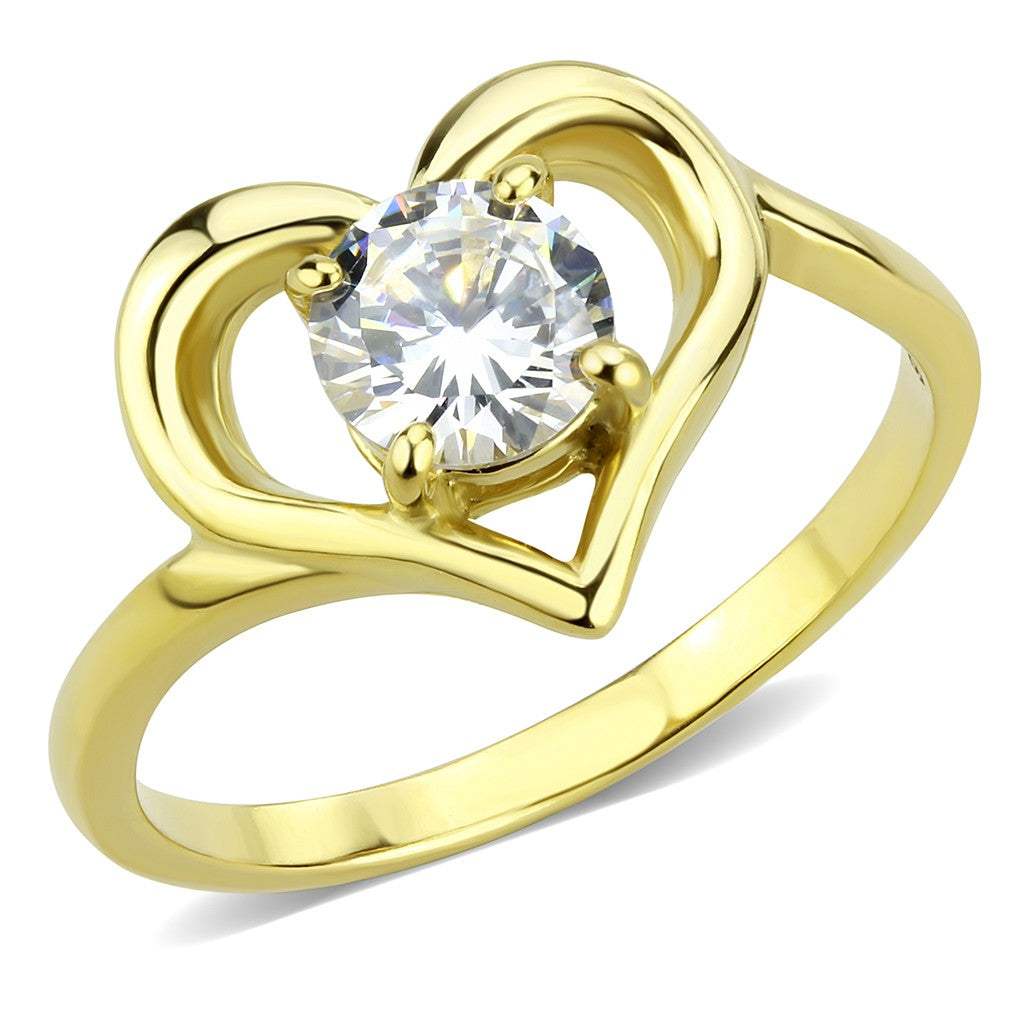 6x6mm Clear Round CZ Inside Heart Shape Womens Gold IP Stainless Steel Band