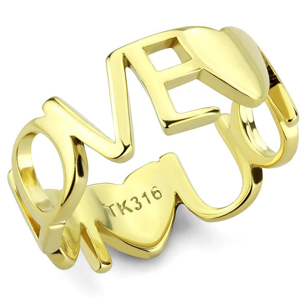 Love You Lettering Between Heart Shape Womens Gold IP Stainless Steel Band