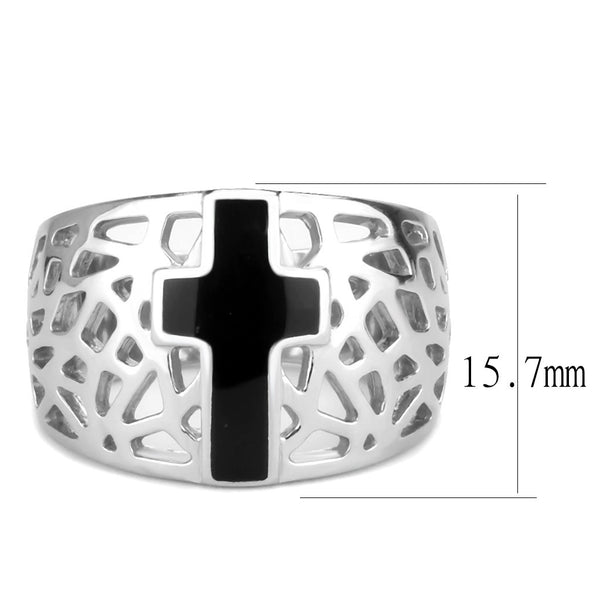 Black Christian Holy Cross Womens 316 Stainless Steel Wide Band Religious Ring