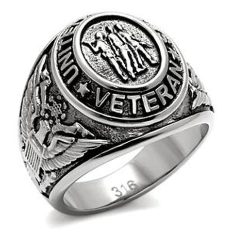 316 Stainless Steel US Military/Veteran Mens Wide Band Ring - LA NY Jewelry