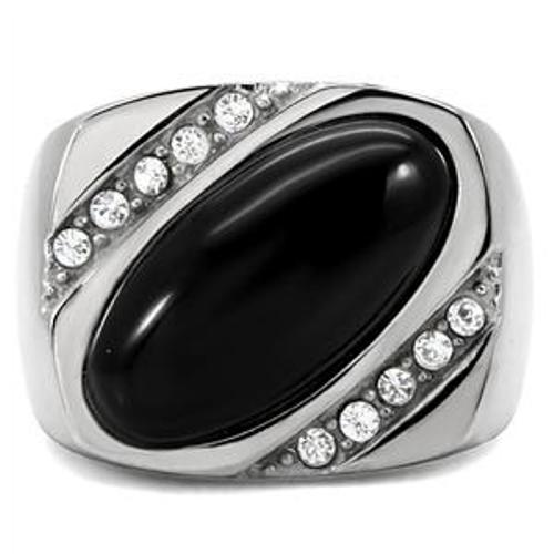 Simulated Onyx & CZ 316 Stainless Steel Mens Wide Band Ring - LA NY Jewelry