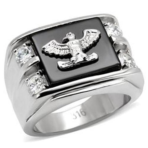 316L Stainless Steel American Eagle on Onyx & CZ Ring - LA NY Jewelry