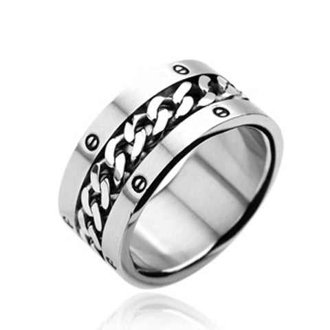 316L Stainless Steel w/Chain Center Bolted Design Wide Band Ring - LA NY Jewelry