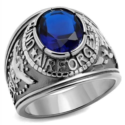 316 Stainless Steel Wide Band Air Force Mens Sapphire CZ Ring