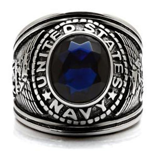 316 Stainless Steel Wide Band Navy Mens Sapphire CZ Ring - LA NY Jewelry