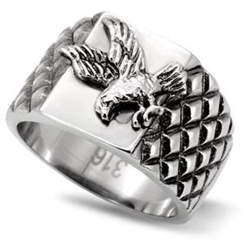 316 Stainless Steel Men's Soaring Eagle Textured Band Ring - LA NY Jewelry
