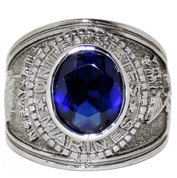 316 Stainless Steel Wide Band Marine Mens Sapphire CZ Ring - LA NY Jewelry