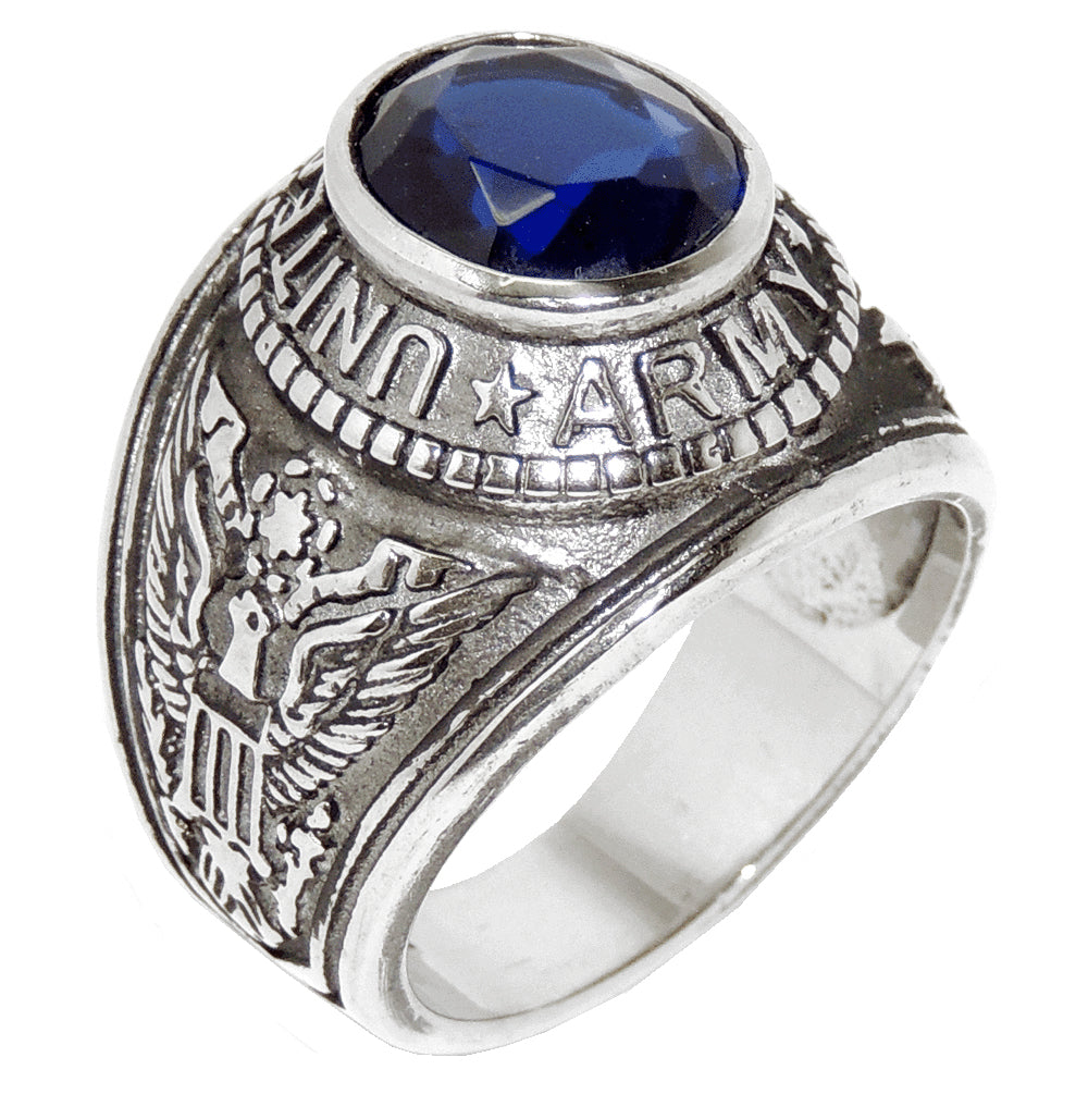316 Stainless Steel Wide Band Army Mens Sapphire CZ Ring - LA NY Jewelry