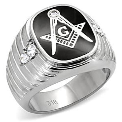 316 Stainless Steel Masonic Mason Men's Ring in Simulated Onyx - LA NY Jewelry