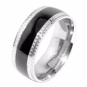 Black IP Center 316 Stainless Steel Men's Band Ring with etched edges - LA NY Jewelry