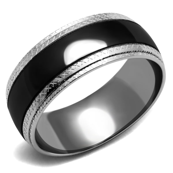 His Hers 4 PCS Black IP Stainless Steel Cushion Cut CZ Wedding Set Mens Matching Black Band