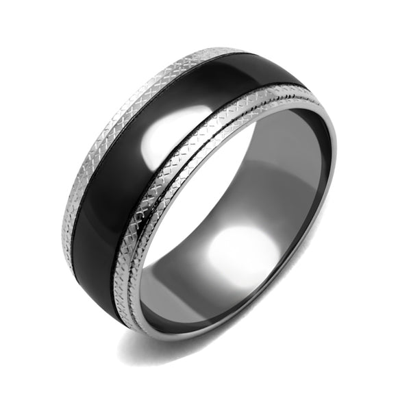 4 PCS Couple Black IP Stainless Steel 7x7mm Round Cut CZ Engagement Ring Set Mens Matching Band