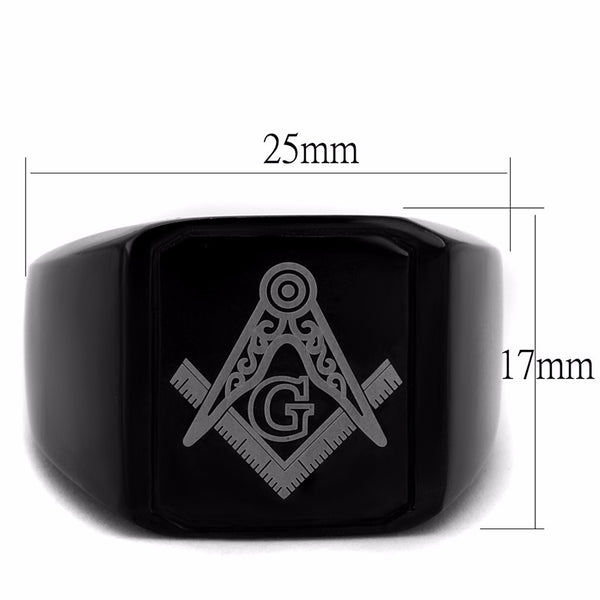 Black IP Stainless Steel Masonic Men's Wide Band Ring - LA NY Jewelry