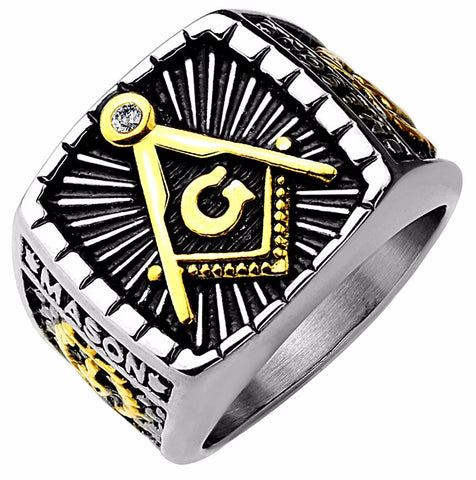 IP Gold And Burnish Steel 2-Tone Square Face Masonic Stainless Steel Casting Ring - LA NY Jewelry