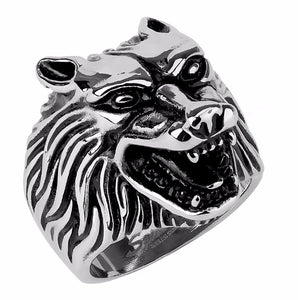 Wolf Head made in 316 Stainless Steel Mens Casting Ring - LA NY Jewelry