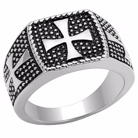 Three Simple Medieval Cross 316 Stainless Steel Mens Casting Ring - LA NY Jewelry
