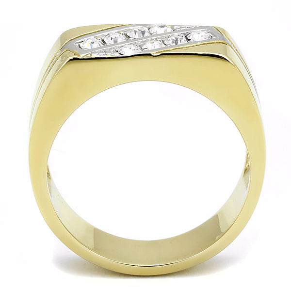 Top Grade Crystal Set in Two-Tone IP Gold Stainless Steel Mens Ring - LA NY Jewelry