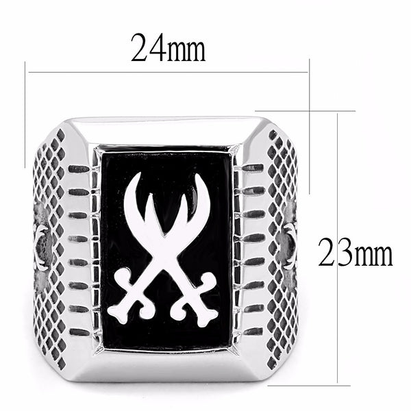 Two Sword Cross in Black Background 316 Stainless Steel Mens Ring - LA NY Jewelry
