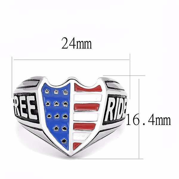 Blue Red White Color in Shield Shape Stainless Steel Rider Free Ring - LA NY Jewelry
